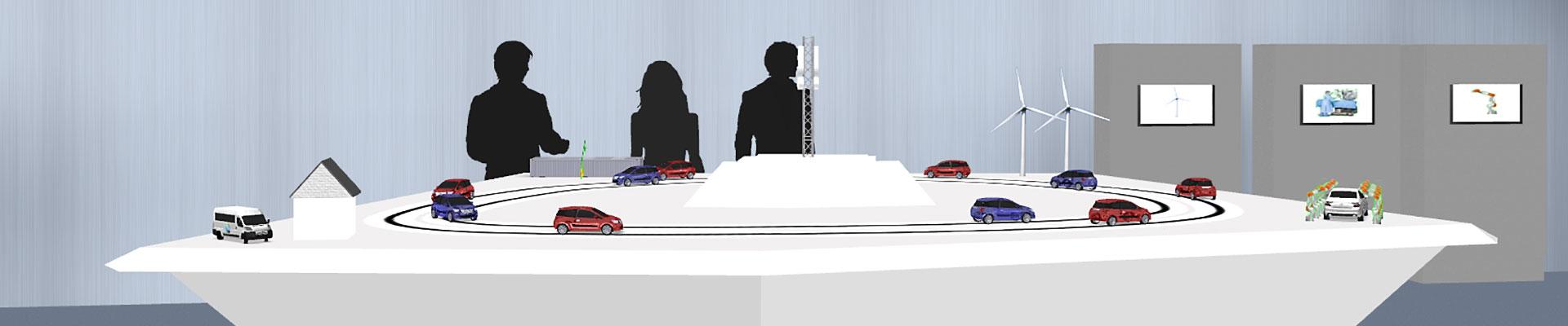 IT-Gipfel 2015: Animation des G5-Exponats mit Fahrzeugen, Windrädern und Fabrikationsroboter.