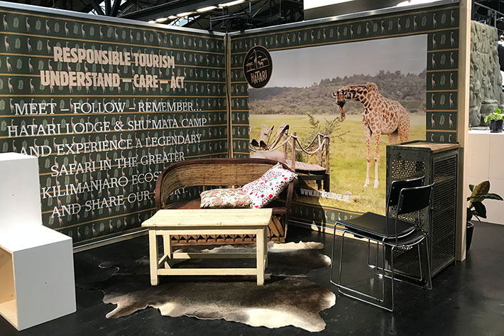 Berlin Travel Festival 2018: Messestand der Hatari Lodge.