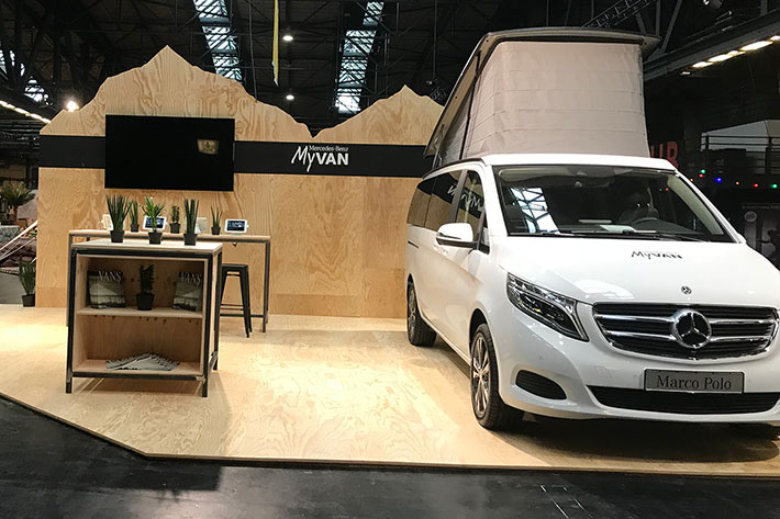 Berlin Travel Festival 2018: Messestandvon Mercedes Benz MyVan.