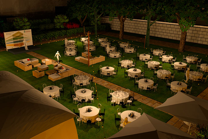 Parlamentarischer Abend der BIMA 2019: 3-D-Rendering des Veranstaltungsgeländes aus halbhoher Perspektive mit Blickrichtung auf die Bühne für die Konzeptpräsentation.