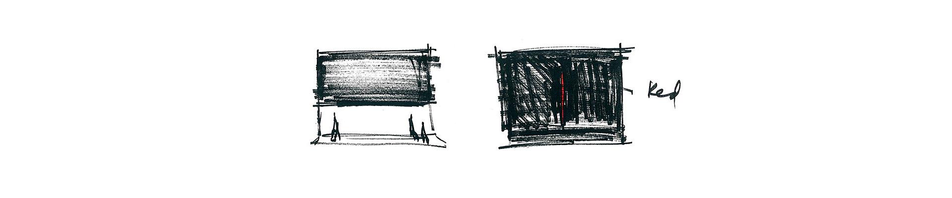 "Zwei Skizzen von Robert Wilson zu ""Doctor Faustus Lights the Lights"", Hebbel Theater, 1992."