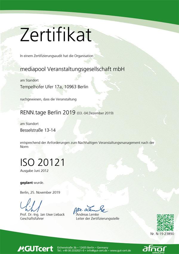 Zertifikat nach ISO 20121
